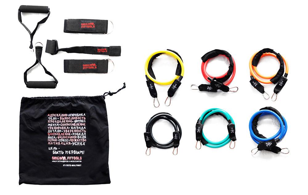 Набор эспандеров трубчатых OFT (6 шт.) и аксессуаров в сумке