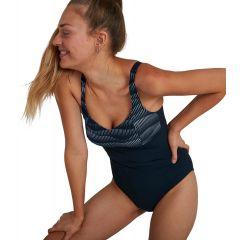Купальник утягивающий Speedo ContourLustre Printed Swimsuit Navy