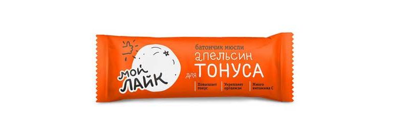"""Батончик мюсли Tekmar Мой Лайк """"Апельсин для тонуса"""", 25 грамм"""