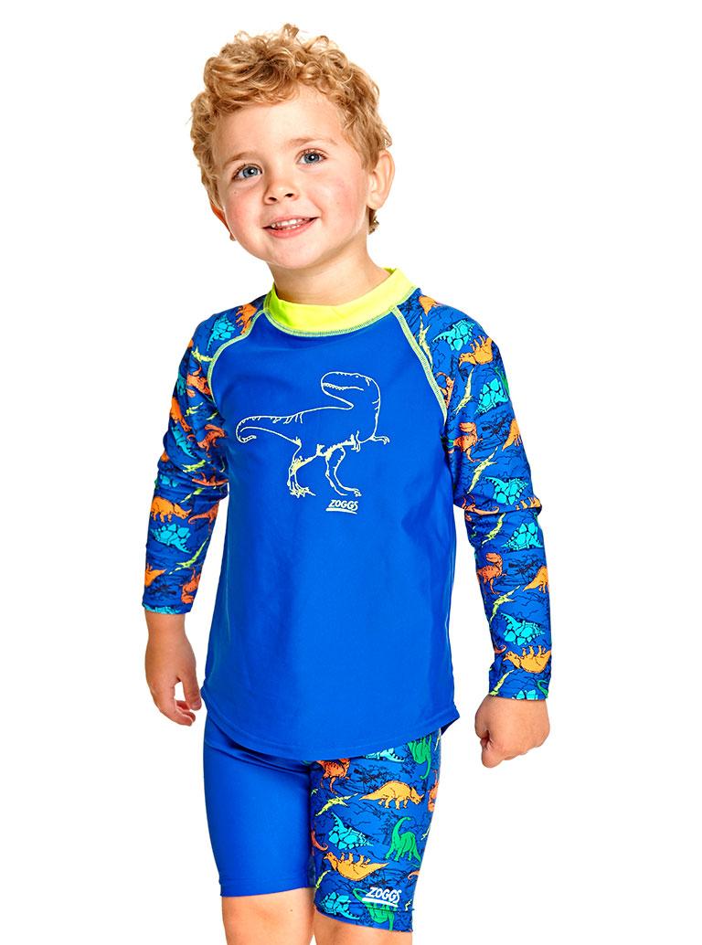 Гидромайка для плавания детская с длинным рукавом ZOGGS Dino Land Sun Top