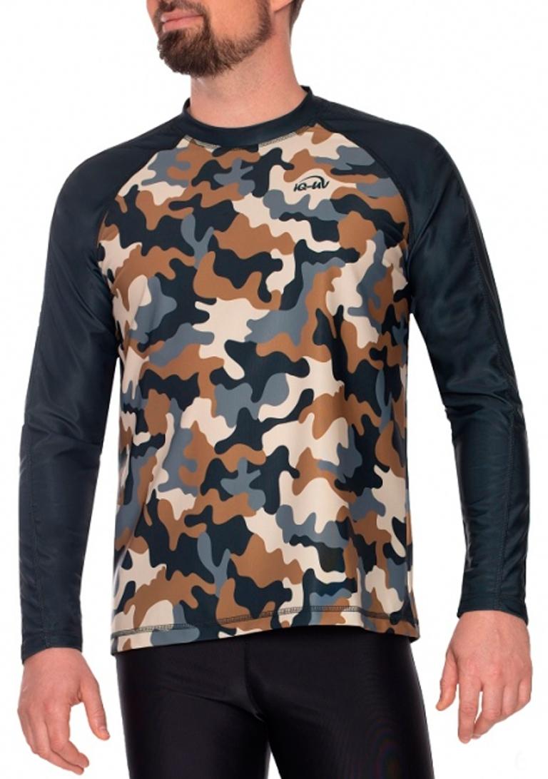 Гидромайка для плавания мужская с длинным рукавами  iQ UV 300+ Military