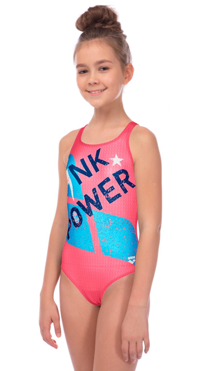 Купальник слитный детский Arena Pink Power Junior V Back
