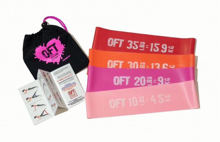 Набор из 4 мини-эспандеров OFT (нагрузка от 4,5 до 15,9 кг)