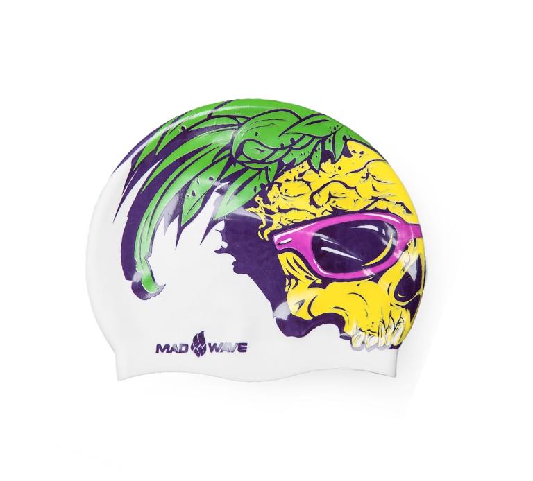 Шапочка для плавания MadWave Silicone Pineapple Skull